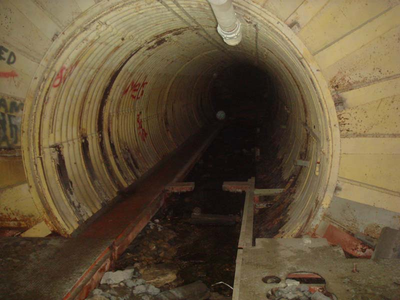 Looking back down the tunnel towards the main junction.